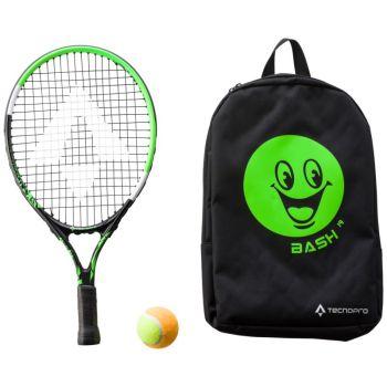 Tecnopro BASH 19 W/ BACKPACK, dječiji reket za tenis, crna