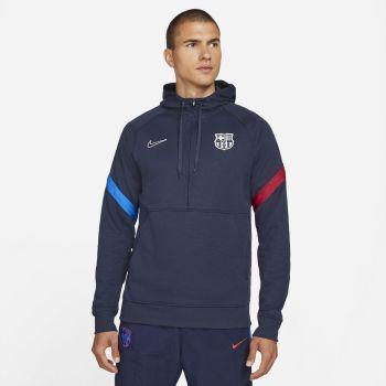 Nike FC BARCELONA DRI-FIT 1/2-ZIP SOCCER HOODIE, muški duks za fudbal, plava