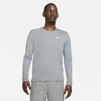 Nike DRI-FIT MILER LONG-SLEEVE RUNNING TOP, muška majica dugi rukav za trčanje, siva