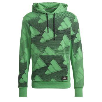 adidas M FI GFX PO, muški duks za fitnes, zelena