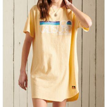 Superdry CALI SURF RAGLAN TSHIRT DRESS, ženska haljina, žuta