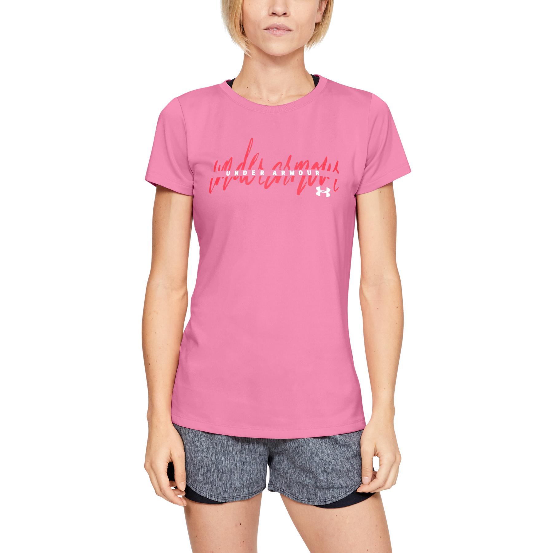 Under Armour TECH SCRIPT GRAPHIC SSC, ženska majica za fitnes, roza